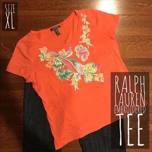 🐣 ➕ LAUREN Ralph Lauren Embroidered Tee XL Orange